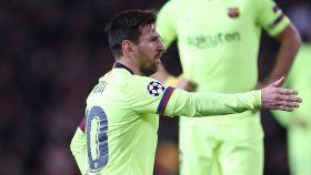 Messi en un partido del Barcelona de la Champions League