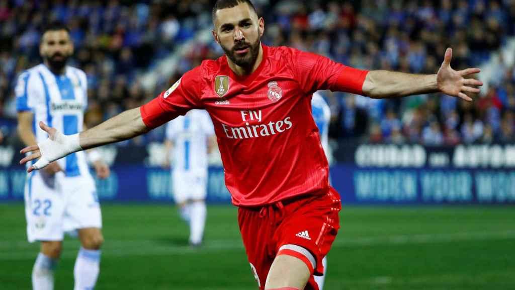 Benzema celebra su gol al Leganés