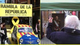 Los CDR montan un puesto en una feria de Barcelona para lanzarle dardos a Felipe VI
