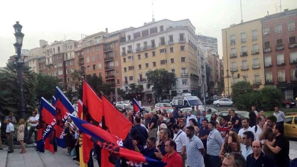 Una concentración de falangistas en Madrid, en 2016.