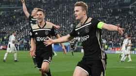 De Ligt celebra el gol del pase a las semifinales de la Champions League del Ajax ante la Juventus