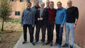 Jordi Sánchez, Oriol Junqueras, Josep Rull, Quim Forn, Jordi Cuixart, Jordi Turull y Raül Romeva en la prisión de Lledoners.
