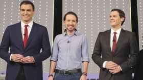 Pedro Sánchez, Pablo Iglesias y Albert Rivera.