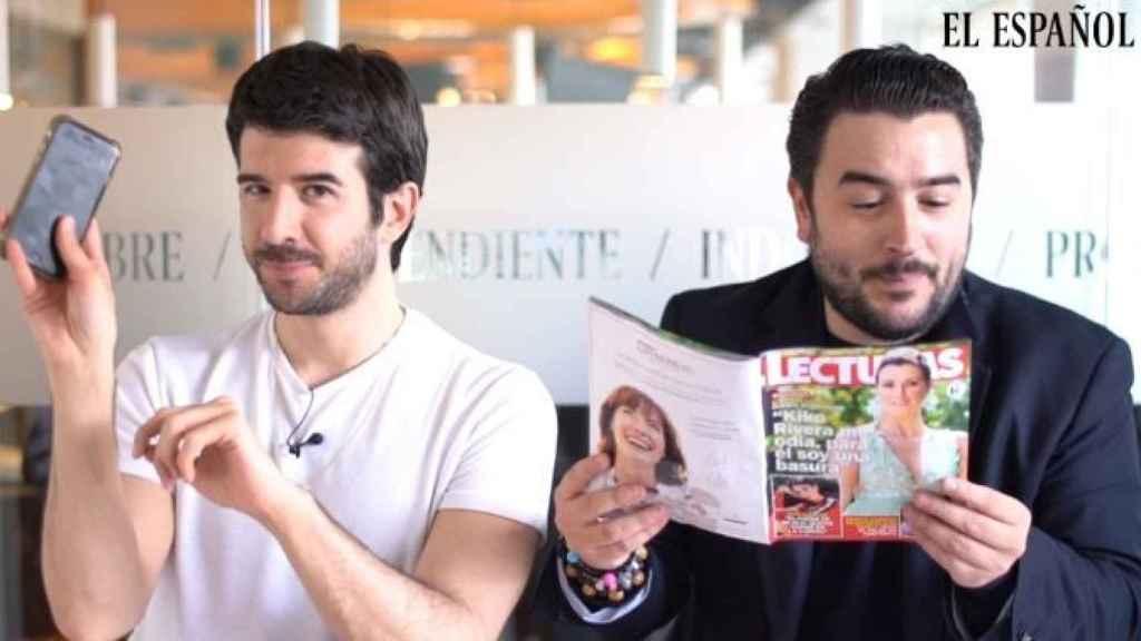 Raúl Rodríguez y Jesús Carmona durante el kiosco rosa en vídeo.