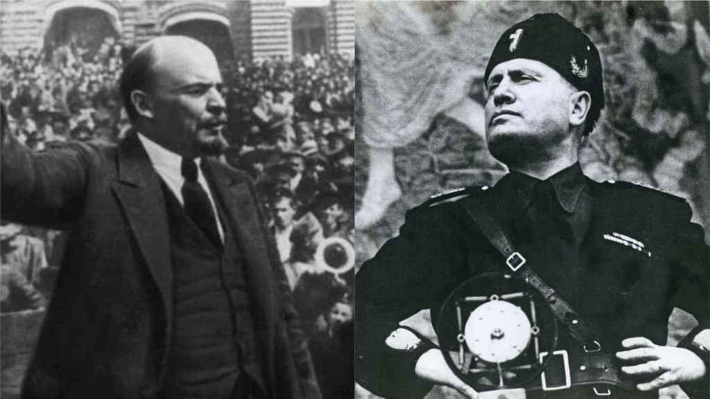 Lenin y Mussolini durante uno de sus discursos.