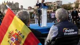 El presidente nacional del Partido Popular y candidato a la Presidencia del Gobierno, Pablo Casado interviene durante un mitin en Palma de Mallorca.