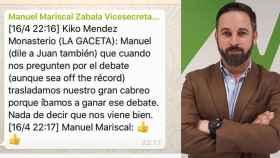 Conversación publicada por error por el vicesecretario de Comunicación de Vox, Manuel Mariscal.