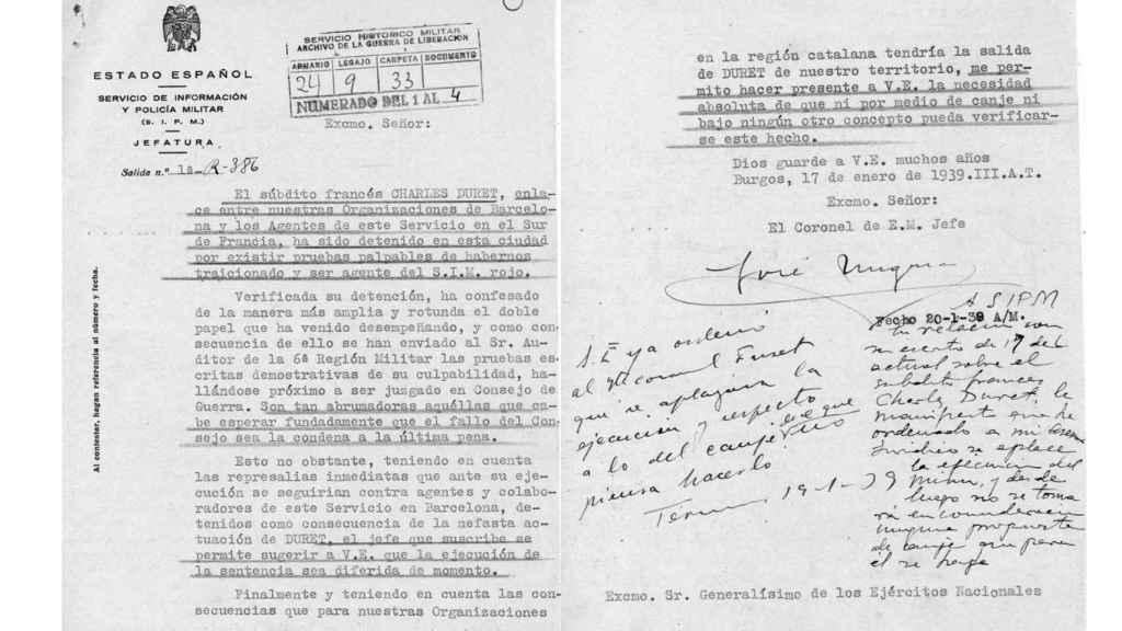 Informe redactado por el SIPM franquista en el que se culpa a Duret de ser un espía del SIM rojo.