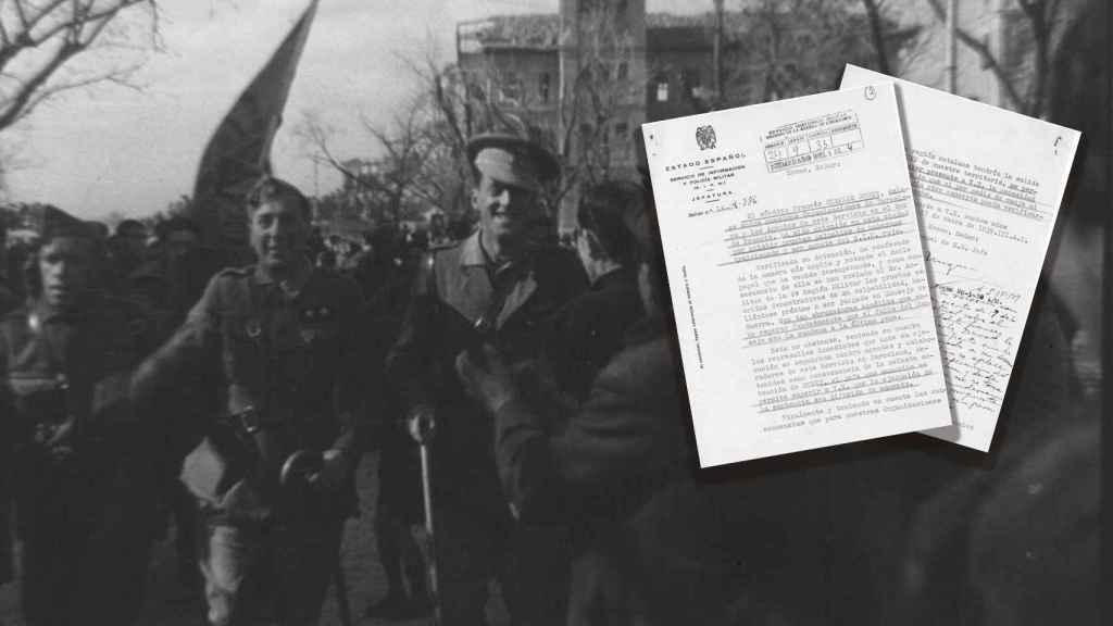 Una unidad franquista hace su entrada en Madrid en 1939 y los informes del SIPM sobre Duret.