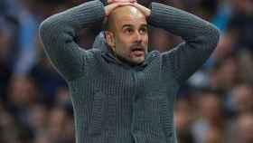 Guardiola en el partido contra el Tottenham