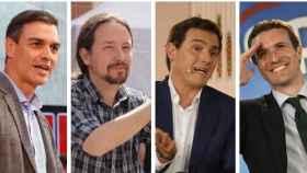 De izquierda a derecha, Pedro Sánchez, Pablo Iglesias, Albert Rivera y Pablo Casado.