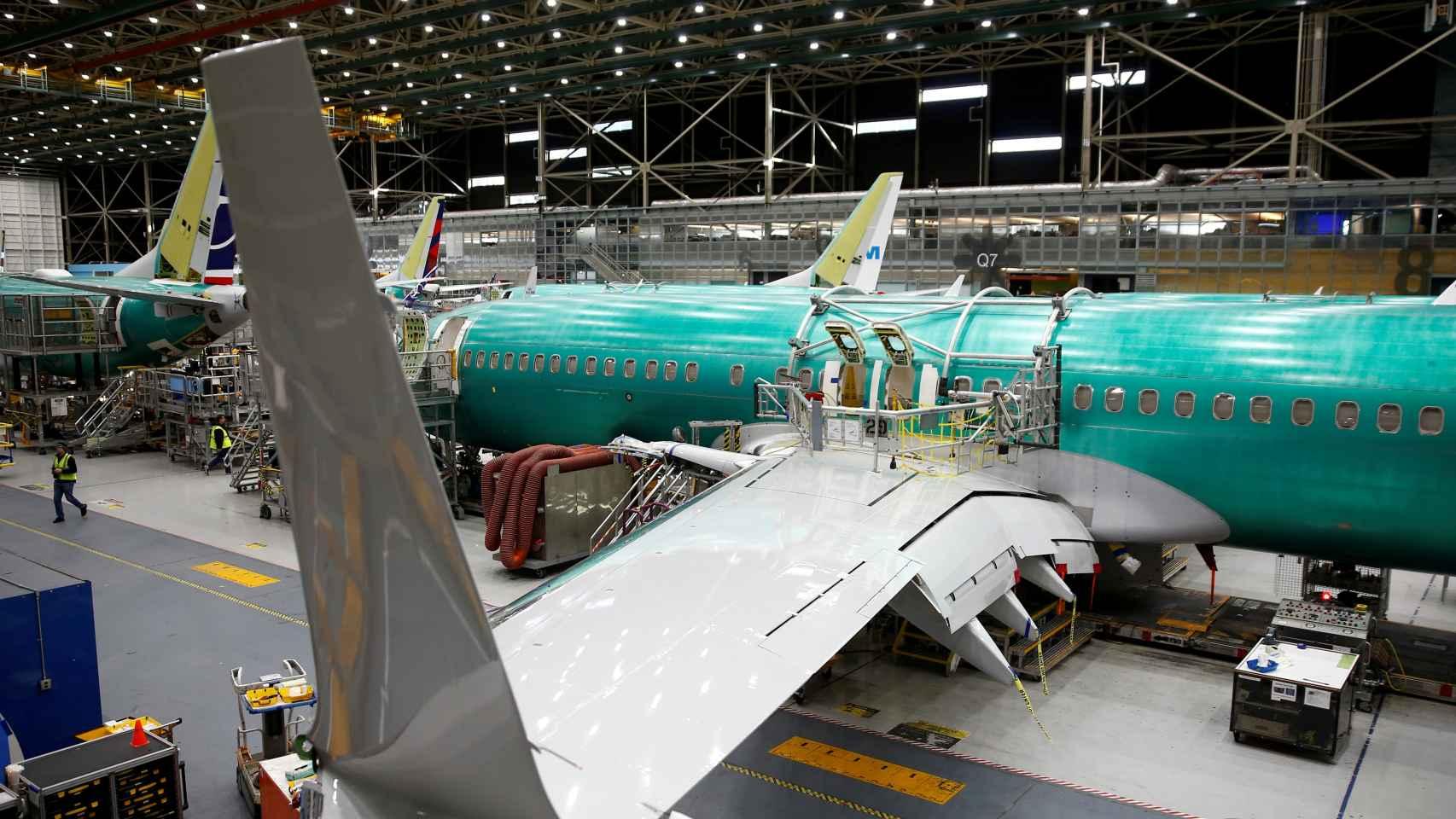 Un avión 737 Max, en la fábrica de Boeing en Renton, en Washington.
