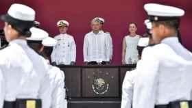 El presidente mexicano, AMLO, este domingo durante el 105 aniversario de la defensa del puerto de Veracruz.