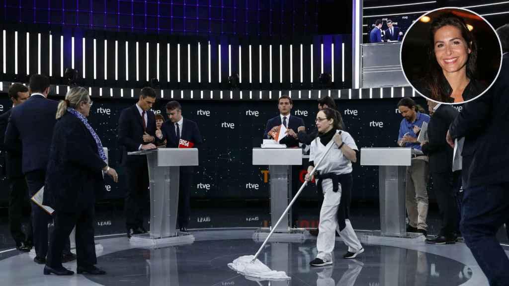 Nuria Roca en montaje JALEOS junto a la limpiadora.