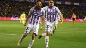 Los jugadores del Valladolid celebran un gol al Girona. Foto: Twitter (@realvalladolid)