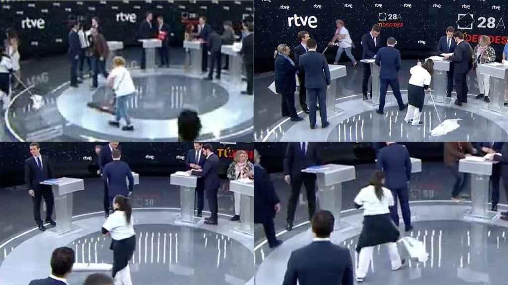 Momentos antes de que arrancara el debate en TVE, el equipo de limpieza salta al plató a ultimar los detalles.