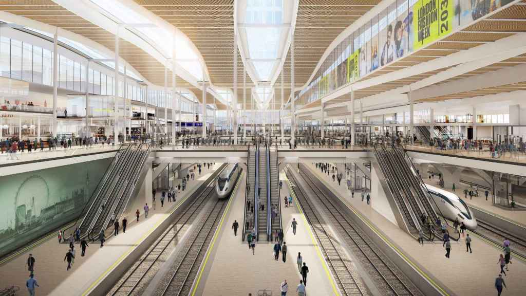 Proyección del interior de la futura estación de alta velocidad de Euston, en Londres.