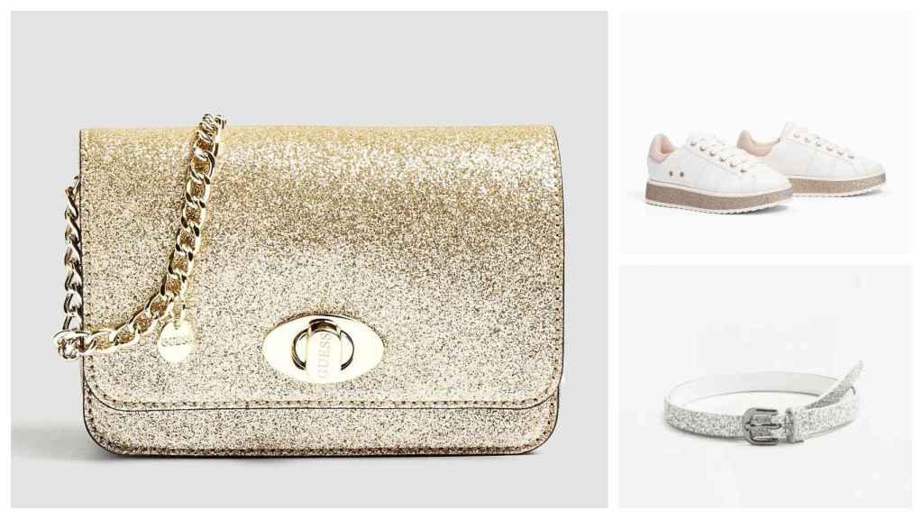 Un montaje con el bolso de Guess, los zapatos de Zara y el cinturón de Mango.