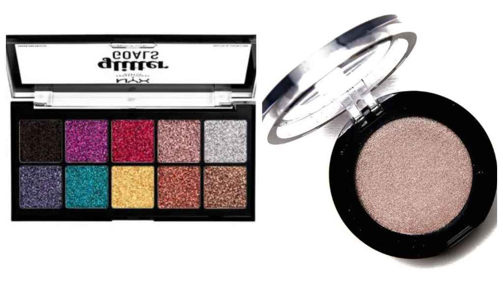 Un montaje con una paleta de sombras de ojos de NYX (izquierda) y una sombra de ojos de Sephora (derecha).