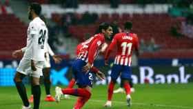 Morata, tras anotar el primer gol del partido