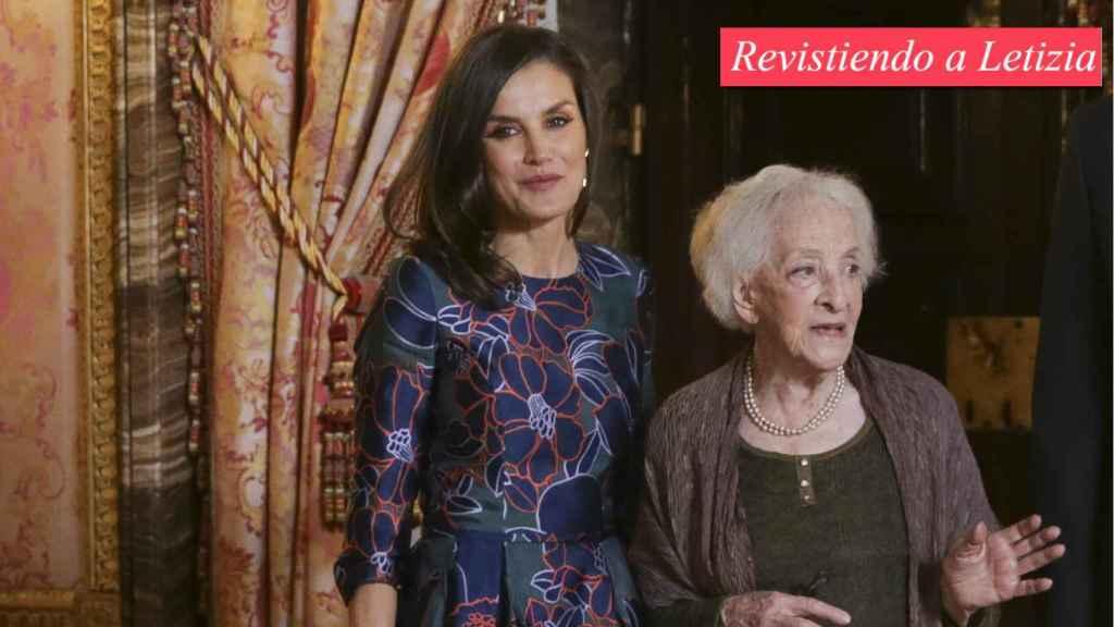 La reina Letizia y la escritora uruguaya Ida Vitale, galardonada con el Premio Cervantes.