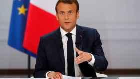 Emmanuel Macron durante la rueda de prensa en el Palacio del Elíseo.