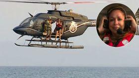 Isabel Pantoja, a punto de saltar del helicóptero.
