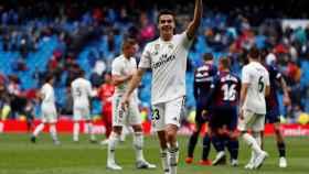 Sergio Reguilón con el Real Madrid.