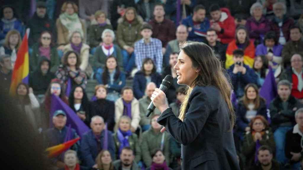 Irene Montero, durante el mitin de fin de campaña de Unidas Podemos.