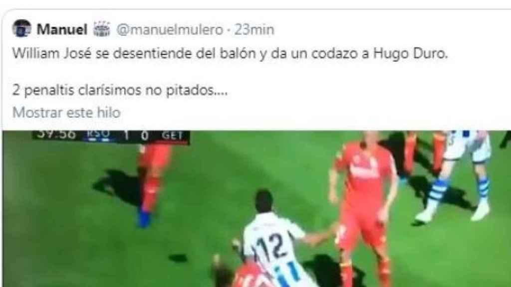 La reacción de Hugo Duro al polémico penalti. Foto: Twitter (@elchiringuitotv)