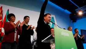 El portavoz de EH Bildu, Arnaldo Otegi valora los resultados electorales este domingo en San Sebastián.