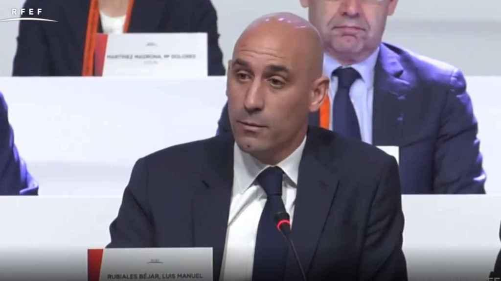Luis Rubiales durante la Asamblea.