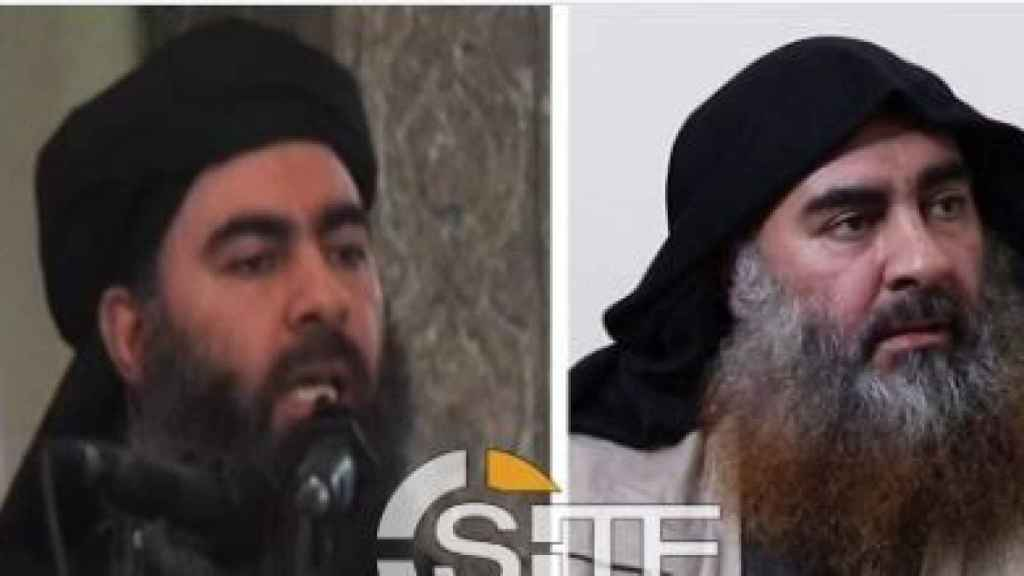 Al-Baghdadi (en 2014) y en el vídeo difundido este lunes