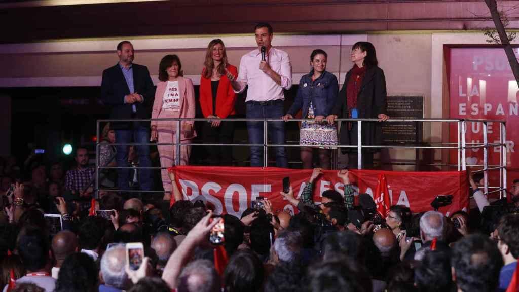 José Luis Ábalos, Carmen Calvo, Pedro Sánchez, Begoña Gómez, Cristina Narbona y Adriana Lastra.