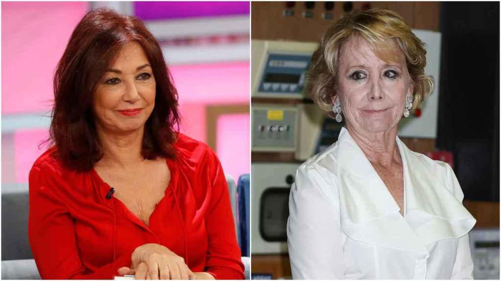 Ana Rosa Quintana y Esperanza Aguirre en un montaje de JALEOS.