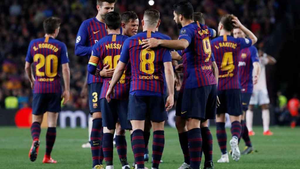 Los jugadores del Barcelona celebran uno de los goles ante el Manchester United