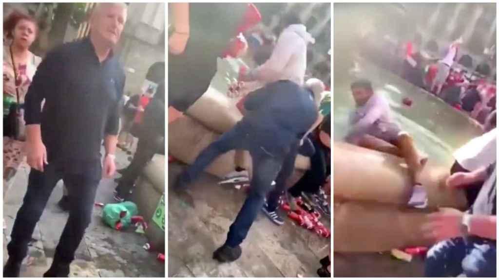 Un hooligan arroja a una fuente a un vendedor ambulante