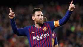 Leo Messi en su duelo ante el Liverpool