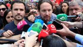 Pablo Iglesias y Alberto Garzón en la manifestación del 1 de Mayo.