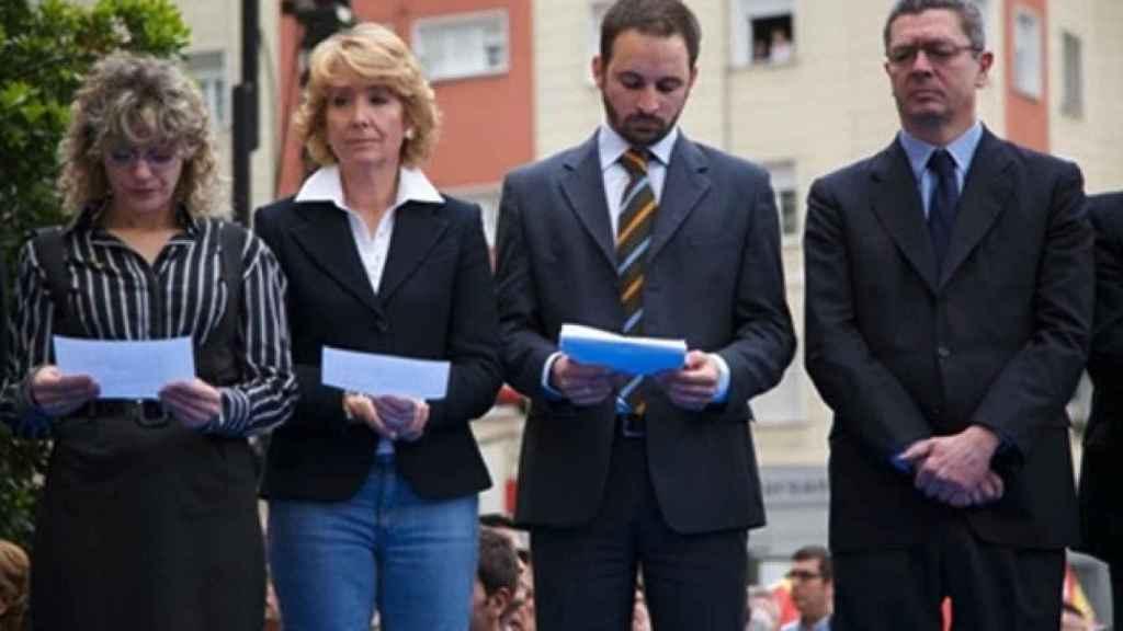Esperanza Aguirre, Santiago Abascal y Alberto Ruiz-Gallardón en una imagen de archivo.