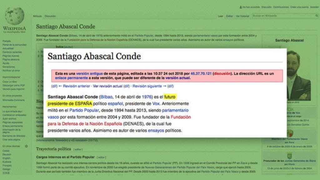 Captura de la descripción de Abascal