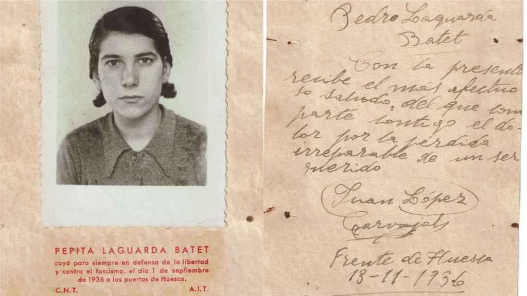 Pepita Laguarda y la postal enviada por su novia Juan a su padre.