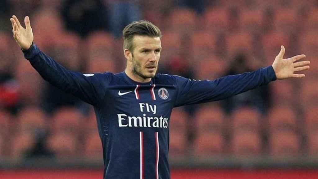 David Beckham, en un partido del PSG