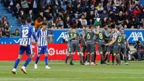 La Real Sociedad celebra un gol contra el Alavés