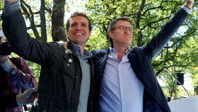 El líder del PP, Pablo Casado, y el presidente de la Xunta, Alberto Núñez Feijóo.