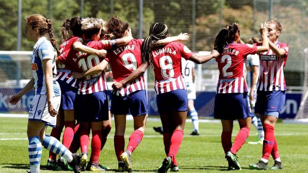 El Atlético de Madrid celebra un gol frente a la Real Sociedad