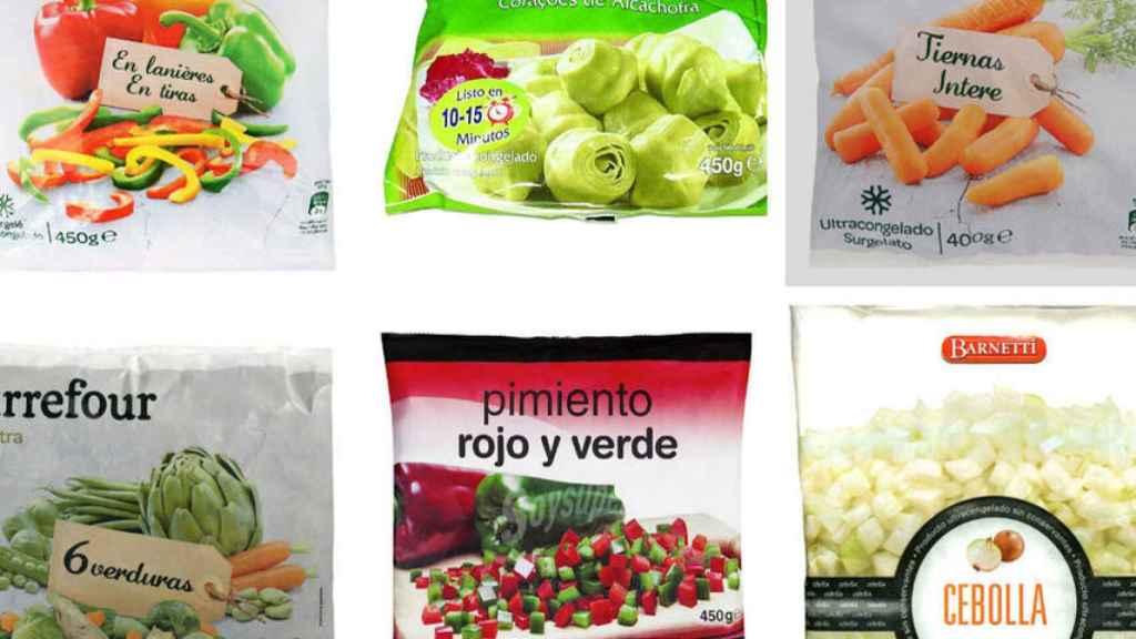 Varias bolsas de productos troceados y congelados