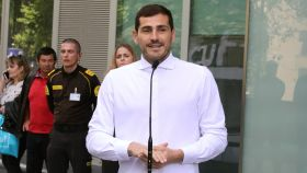 Iker Casillas a su salida del hospital