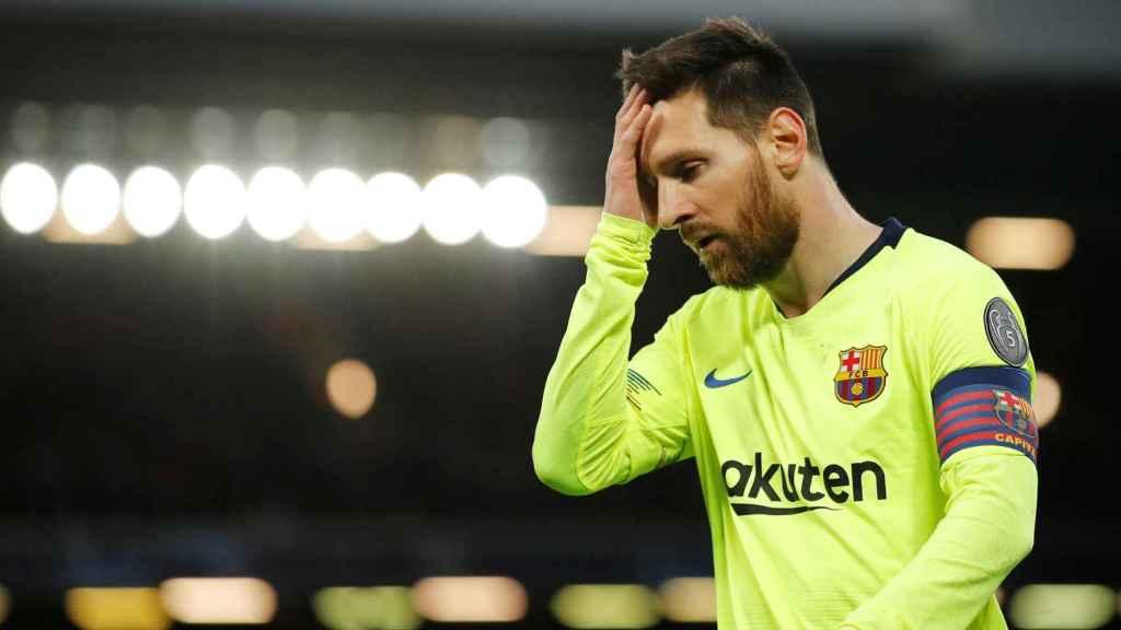 Messi, en un momento del partido contra el Liverpool en Anfield