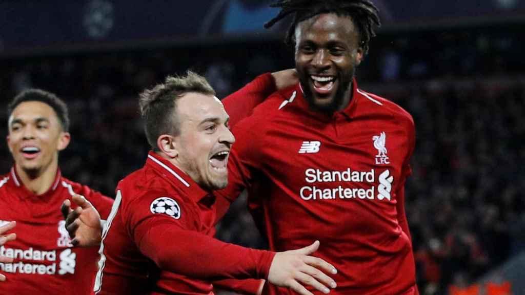 El Liverpool celebra el 4-0 al Barcelona en la Champions